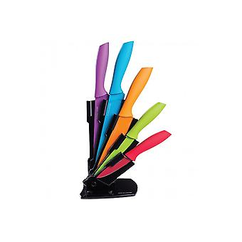 Andrew James Coloured Knife Set With Stand
