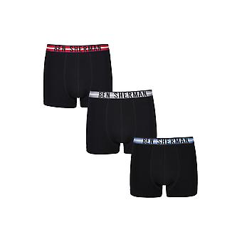 Ben Sherman Mens 3 Pack Boxer Trunks Black with Stripe Waistbands Wynton