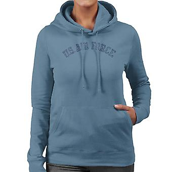 US Airforce Training Navy Blue Text Distressed Women's Hooded Sweatshirt