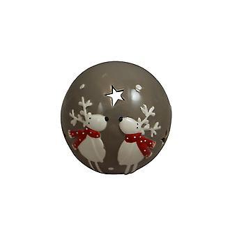 Grey Ceramic Reindeer Tealight Holder Christmas