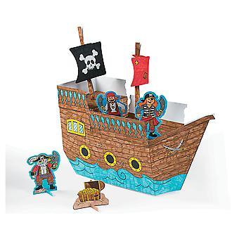 6 Colour Your Own 3D Pirate Playsets for Kids | Skull & Crossbones Crafts