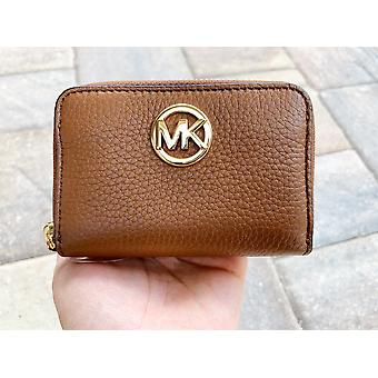 Michale kors fulton coin case small wallet luggage brown pebble leather