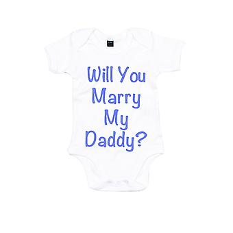 Will You Marry My Daddy White with Blue Baby Grow
