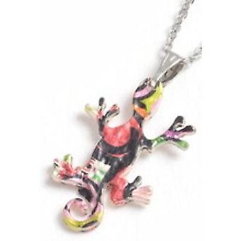 TOC Multicolour Zinc Alloy Printed Iguana Pendant Necklace 18