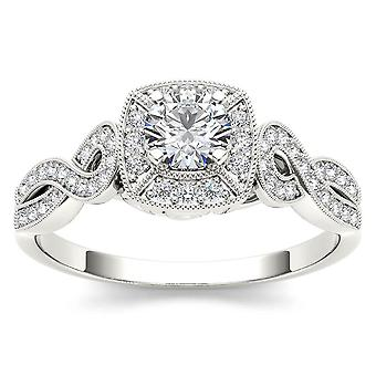 IGI Certified 14k White Gold 0.50 Ct Diamond Halo Vintage Engagement Ring Set