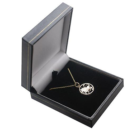9ct Gold 11mm pierced Leo Zodiac Pendant with a cable Chain 16 inches Only Suitable for Children