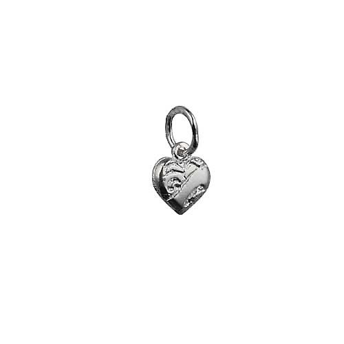 Silver 7x7mm heart symbol of charity Pendant or Charm