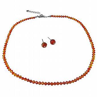 Swarovski String Inexpensive Wedding Jewelry Fire Opal Crystals Set