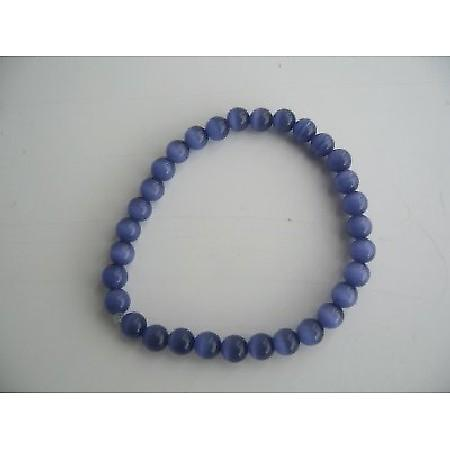 Stretchable Royal Blue Cat Eye Beaded Bracelet Handmade Jewelry