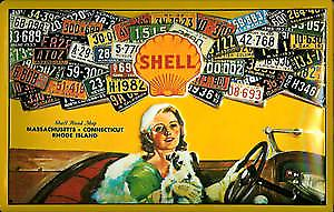 Shell US Licence Plates embossed steel sign