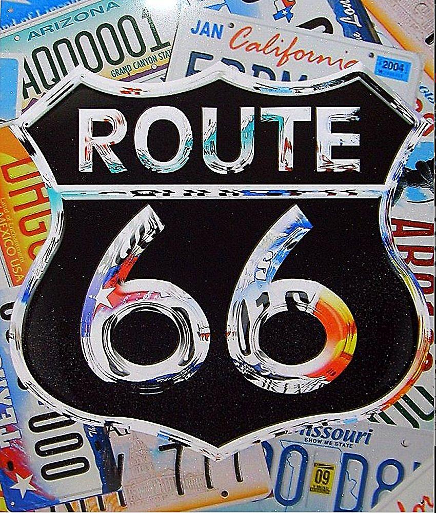 Route 66 (licence plates behind shield) metal sign    (ga)
