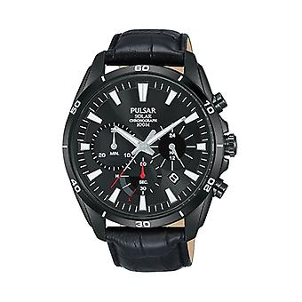 Pulsar Black Stainless Steel Case Black Leather Strap Mens Watch pz5063x1 44mm