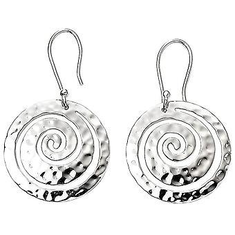 Begin Swirl getextureerde schijf oorbellen - zilver