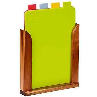 Tabs - Set Of 4 Colour Coded Chopping Boards In Wood Stand - Brown / Multi-coloured