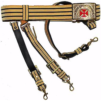 Knights Templar Past Grand Commander svart & Gold Sword Belt-Røde Kors