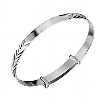 Jo For Girls Babies ID Feather Pattern Expanding Bangle - 925 Sterling Silver
