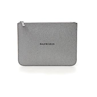 Balenciaga Everyday Silver Leather Clutch