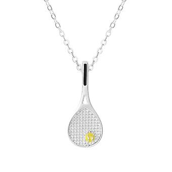 Eternal Collection Anyone For Tennis Yellow Enamel Silver Tone Pendant