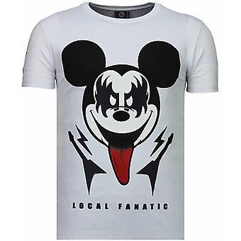 Kyss min Musse-rhinestone T-shirt-vit