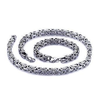 Bracelet royal 5mm bracelet homme collier pour hommes, 65 cm en acier inoxydable argenté
