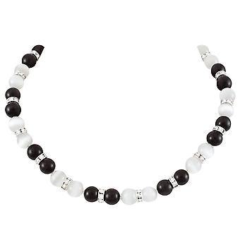Eternal Collection Vaudeville Black And White Cat's Eye Silver Tone Beaded Necklace