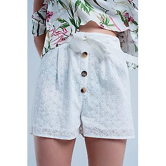 White shorts with button detailing