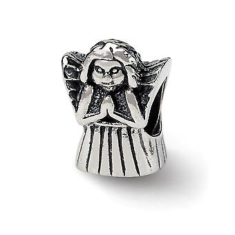 925 Sterling Silver Polished Antique finish Reflections Praying Angel Bead Charm