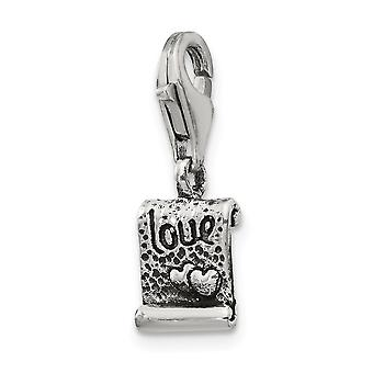 925 Sterling Silver Polished Antique finish Fancy Lobster Closure Reflections Love Note Click-on Bead Charm