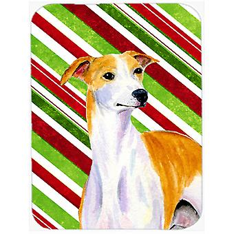 Whippet Candy Cane Holiday Christmas Glass Cutting Board Large