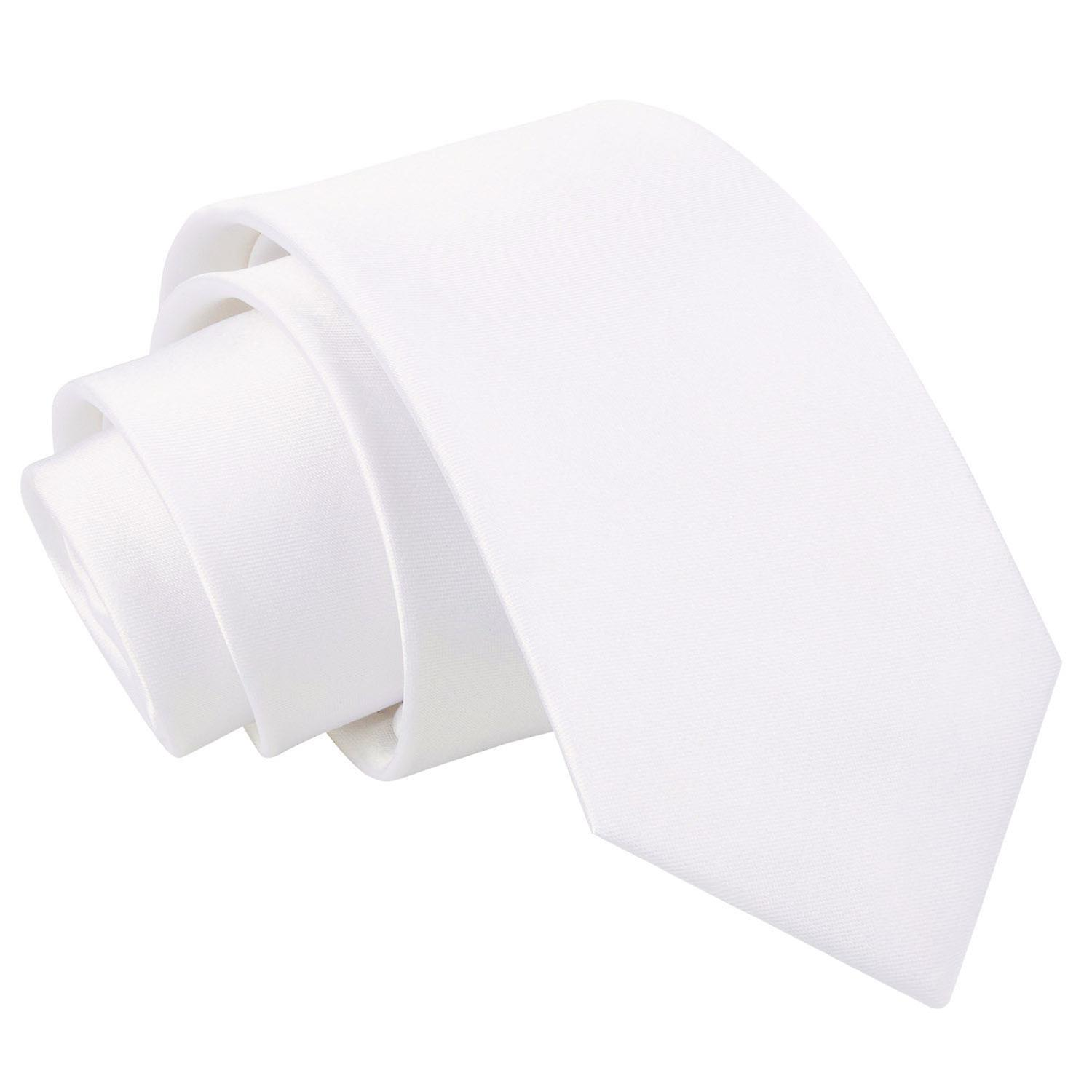 Plain White Satin Slim Tie
