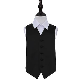 Boy's Plain Black satijn bruiloft gilet
