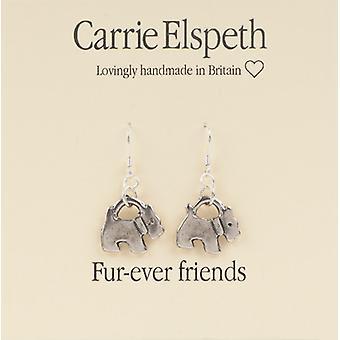 Carrie Elspeth sølv Furever venner Scottie hund dråbe øreringe