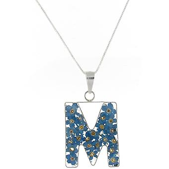 Shrieking Violet Sterling Silver Forget Me Not Flowers M Initial Pendant