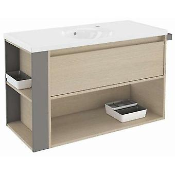 Bath+ 1 Drawer Cabinet + Shelf With Porcelain Basin Oak-Grey 100cm