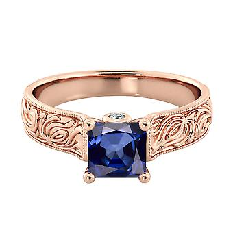Blue Sapphire 1.06 ctw Ring with Diamonds 14K Rose Gold Filigree Cathedral Princess