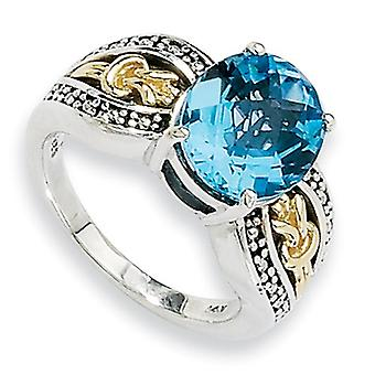Sterling Silver Antique finish With 14k 4.80Swiss Blue Topaz Ring - 4.80 cwt - Size 6