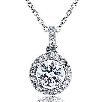 925 Sterling Silver 1 Carat Round-Cut Simulated Diamond Pendant