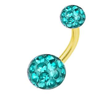 Belly Banana Piercing Gold Plated Titanium, Multi Crystal Ball Aquamarine | 6-16 mm