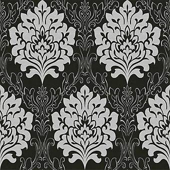 Damask Wallpaper Marrakesh Textured Metallic Black Grey Embossed