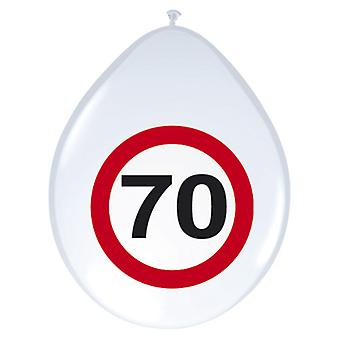 Balloon of balloons 8 St. traffic sign number 70 birthday 30 cm decoration party