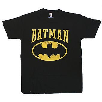 Batman - DISTRESSED LOGO - Mens Black T-Shirt - Batman Logo
