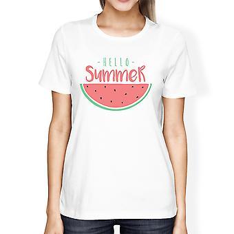 Hallo wit zomer watermeloen Womens grafisch T-Shirt voor de zomer