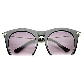 Womens Cateye High Fashion Semi-Rimless Metal Arms Sunglasses
