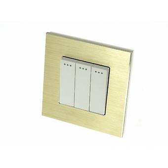 I LumoS Luxury Gold Brushed Aluminium Frame 3 Gang 1 Way Rocker Wall Light Switches