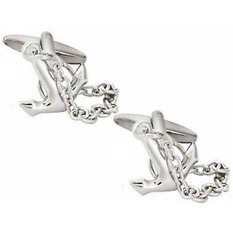 Zennor Anchor Cufflinks - Silver