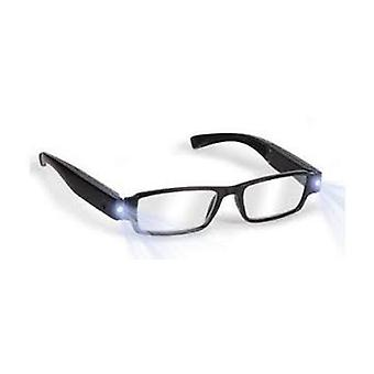 Boolavard® TM Black LED Reading Glasses-presbyopic glasses with LED light Power/Diopter; +2.5