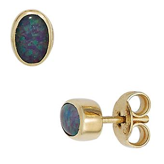 Gemstone Stud Earrings 585 Gold Yellow Gold 2 Opal trip pallet earring gold opal earrings