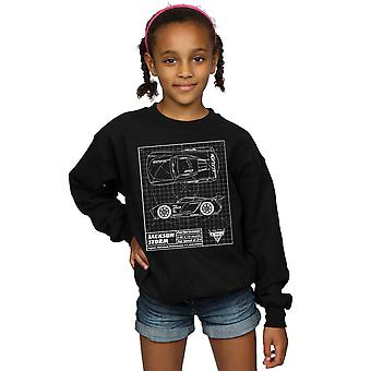 Disney Girls Cars Jackson Storm Blueprint Sweatshirt