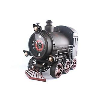52X47CM STEAM ENGINE RETRO TRAIN RUSTIC METAL WALL CLOCK MASSIVE