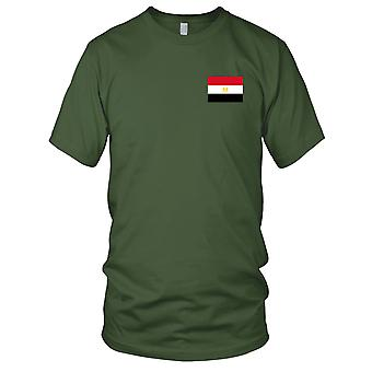 Egypt Country National Flag - Embroidered Logo - 100% Cotton T-Shirt Mens T Shirt